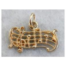 Vintage Musical Scale Charm Pendant
