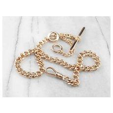 Victorian Antique 14 Karat Rose Gold Pocket Watch Chain