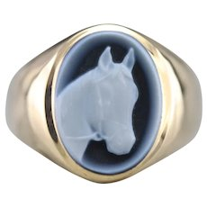 Equestrian Cameo Statement Ring
