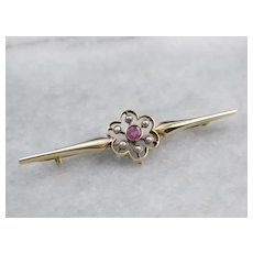 Antique Pink Sapphire and Seed Pearl Brooch