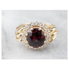 Rhodolite Garnet and Diamond Halo Ring