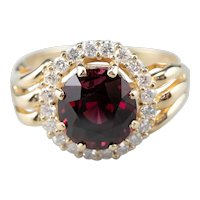 Rhodolite Garnet and Diamond Halo Ring