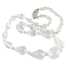 Faceted Art Deco Beaded Glass Necklace
