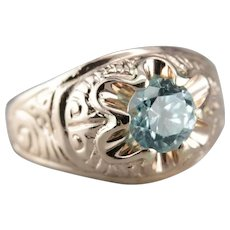 Upcycled Men's Blue Zircon Ring