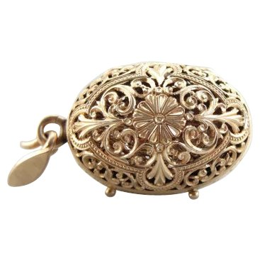 Victorian Perfume Pendant in 14K Rose Gold Filigree Dated 187 SOLD