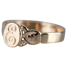 """Upcycled """"E"""" Initial Signet Ring"""