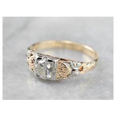 Butterfly Retro Era Diamond Engagement Ring