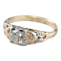 Butterfly Retro Era Diamond Engagement Ring