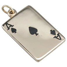 Vintage Ace of Spades Card Charm
