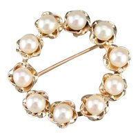 Vintage Cultured Pearl Circle Pin