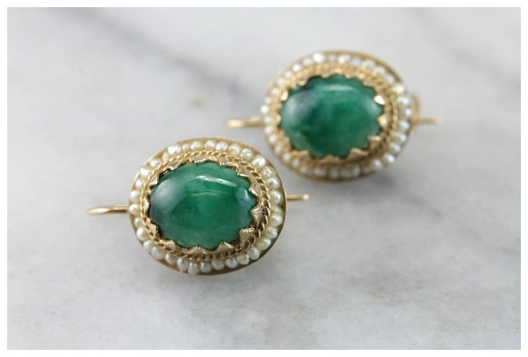 Vintage Emerald Cabochon And Cultured Seed Pearl Earrings