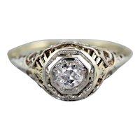 Art Deco European Cut Diamond Solitaire Ring