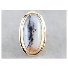 Vintage Dendritic Agate Statement Ring