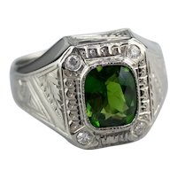 Upcycled Green Tourmaline Diamond Men's Statement Ring