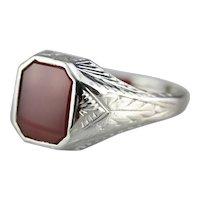 Unisex Art Deco Carnelian Ring