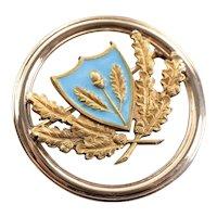 Acorns and Oak Leaves Blue Enamel Emblem Pin