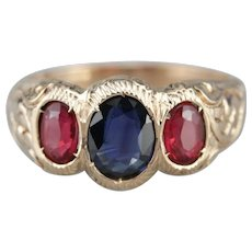 Sapphire Red Doublet Ornate Engagement Ring