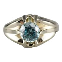 Men's Upcycled Blue Zircon Solitaire Ring