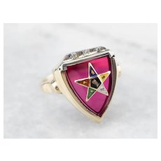 Order of the Eastern Star Ruby Glass Ring