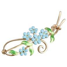 Art Nouveau Floral Honeymoon Pin