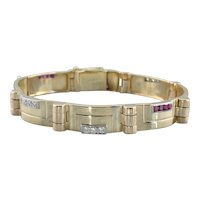 Exceptional Retro Era Statement Bracelet, Diamond and Ruby Link Bracelet