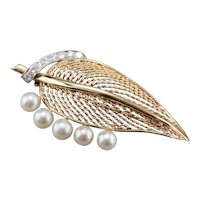 Mid Century Diamond and Cultured Pearl Leaf Brooch