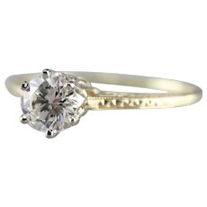 Upcycled Pretty Engraved Diamond Solitaire Ring