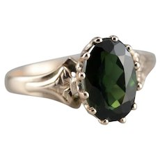 Lovely Green Tourmaline Solitaire Ring
