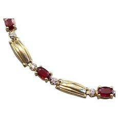 Vintage Ruby and Diamond Tennis Bracelet