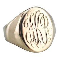"""Antique """"FKR"""" Monogrammed Signet Ring"""