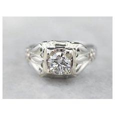 Art Deco Diamond Floral Engagement Ring