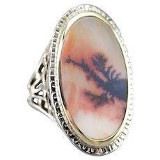 Upcycled Banda River Agate Filigree Ring