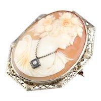 Art Deco Diamond Cameo Pin or Pendant