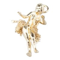 14K Hula Girl Charm with Chain Skirt