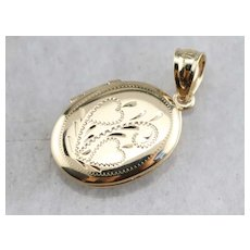 1940's Engraved Oval Locket