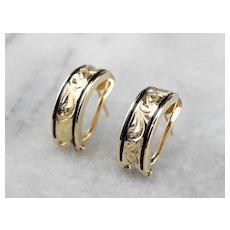 Engraved 14 Karat Gold and Black Enamel Drop Earrings