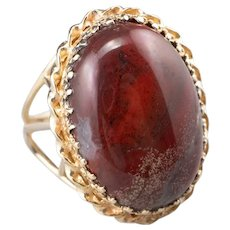 Mid Century Red Jasper Upcycled Cocktail Ring