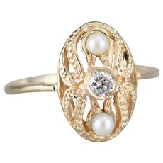 Vintage Diamond and Cultured Pearl Dinner Ring