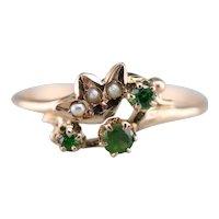 Demantoid Garnet and Seed Pearl Ring