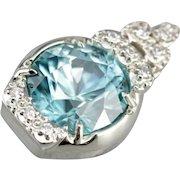 Upcycled Blue Zircon and Diamond Pendant