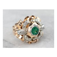 Retro Emerald Ornate Statement Ring