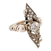 Old Mine Cut Diamond and Seed Pearl Navette Ring