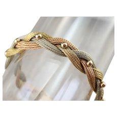 Beaded Tri-Color 18 Karat Gold Braided Bracelet