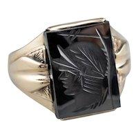 Vintage Men's Hematite Intaglio Ring