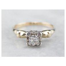 Classic Retro Diamond Solitaire Engagement Ring