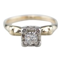 Classic Retro Diamond Solitaire Engagement Ring