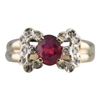Vintage Ruby and Diamond Bow Ring