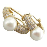 Diamonds and Cultured Pearl Earrings in Fine 18 Karat Gold