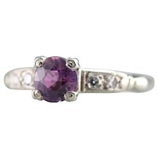 Upcycled Retro Pink Sapphire and Diamond Ring