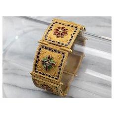 High 18 Karat Gold and Enamel Floral Panel Bracelet